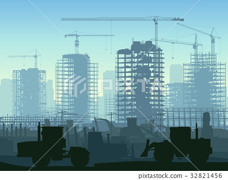 Illustration of construction site with crane. 32821456