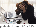 Stressed and frustrated asian business woman 32822355