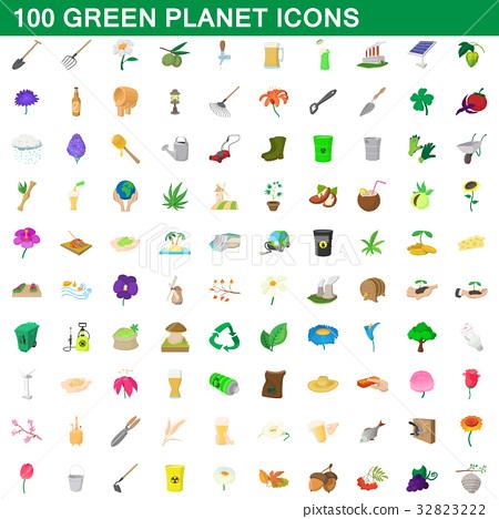 100 green planet icons set, cartoon style 32823222