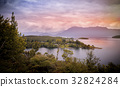 nature sunset landscape with mountain and ocean 32824284