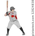 baseball, player, vector 32824838