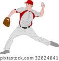 baseball pitcher detailed illustration 32824841