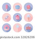 Set of sweet food icons flat style. 32826206