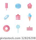 Set of sweet food icons flat style. 32826208
