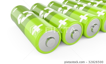 3D Rendering green batteries on white background 32826500