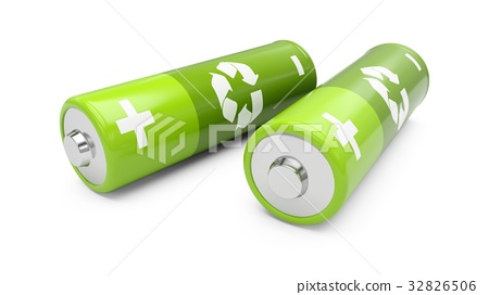 3D Rendering green batteries on white background 32826506