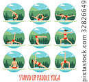 Woman doing Stand Up Paddling Yoga on Paddle Board 32826649