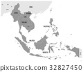 ASEAN Economic Community, AEC, map. Grey map with 32827450