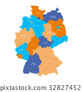 Map of Germany devided to 13 federal states and 3 32827452