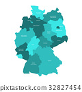 Map of Germany devided to 13 federal states and 3 32827454