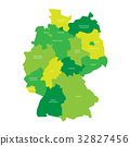 Map of Germany devided to 13 federal states and 3 32827456