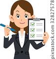事業女性 清單 檢查 32827578