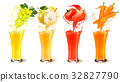 Set of fruit juice splash in a glass.  32827790
