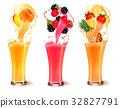 Set of fruit juice splash in a glass.  32827791