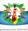 Surfing beach characters. Summer time. Vector 32831545