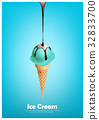 Blue ice cream cone, Pour chocolate syrup 32833700