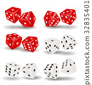 red and white dice on a white background 32835401