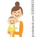벡터, 엄마, 아기 32836633