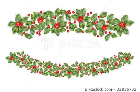 Christmas holly branch border. EPS 10 vector 32836732