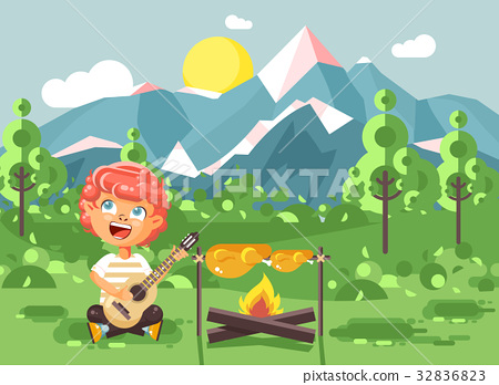 Vector illustration cartoon character child boy 32836823
