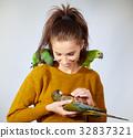 woman, bird, female 32837321