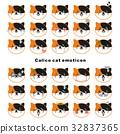 Calico cat face emoticons. Black, white and orange 32837365