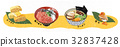 Japanese food illustration with Pattern vector 32837428