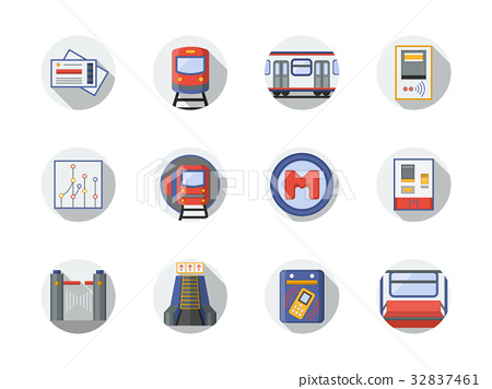 City metro flat round vector icons 32837461
