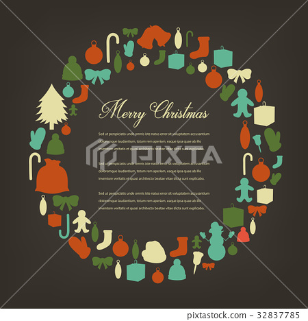 Christmas greeting card with merry christmas and 32837785