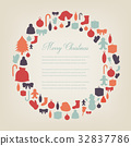 Christmas greeting card with merry christmas and 32837786