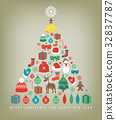 Christmas greeting card with merry christmas and 32837787