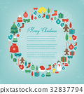 Christmas greeting card with merry christmas and 32837794