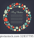 Christmas greeting card with merry christmas and 32837795