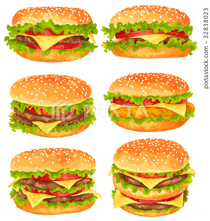 Modern watercolor vector, set of big burgers 32838023