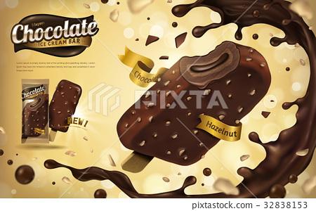 Chocolate hazelnut ice cream bar 32838153