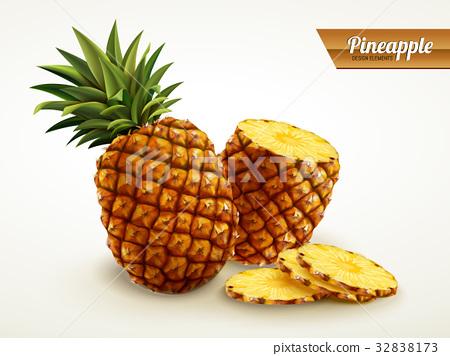 pineapple with sliced flesh 32838173