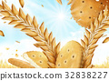Round cracker and wheat background 32838227