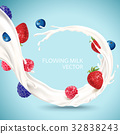 Flowing milk with fruits 32838243