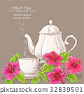 cup of hibiscus tea and teapot 32839501