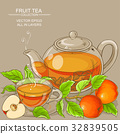 cup of apple tea and teapot 32839505