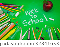 "School supplies on Green chalkboard "" Back to school background "" . 32841653"