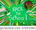 "School supplies on Green chalkboard "" Back to school background "" . 32841682"