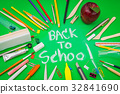 "School supplies on Green chalkboard "" Back to school background "" . 32841690"