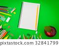 "School supplies on Green chalkboard "" Back to school background "" . 32841799"