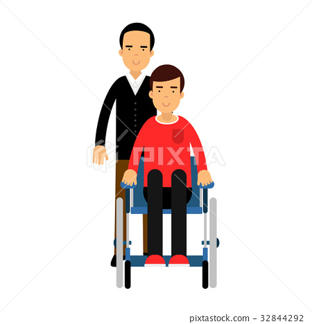 Disabled man in wheelchair, friend or social 32844292