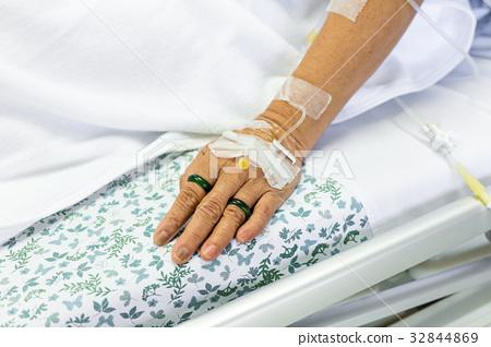 Saline solution to patient hand 32844869