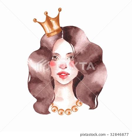 Girl. Watercolor female face. Princess 32846877