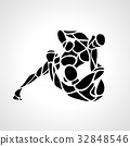 MMA fighters round pictogram or logo. Boxing icon 32848546