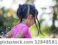 asian girl having fun to bath and playing water  32848581