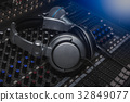 Headphones and Microphone on sound music 32849077
